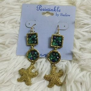 Starfish & Cut Glass Hanging Earrings